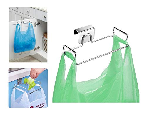 iDesign Classico Metal Over the Cabinet Plastic Bag Holder for Kitchen, Pantry, Bathroom, Dorm Room, Office, 5.5 x 6.5 x 2, Chrome