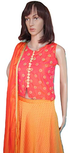 Elegant Attire Wedding Wear Orange Shaded Lehenga Choli - Size Medium