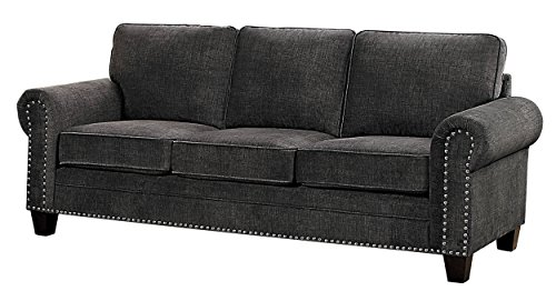Homelegance Cornelia Rolled Arm Sofa with Nail Head Accent Polyester Fabric Cover, Dark Grey