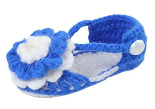 Bigood Strickschuh One Size Strick Schuh Baby Unisex süße Muster 11cm Blume Königsblau