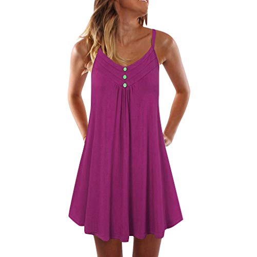 Sunhusing Women's Sleeveless Solid Button Buckle Pleated Hem Mini Dress Spaghetti Strap Double Breasted Dress Hot Pink