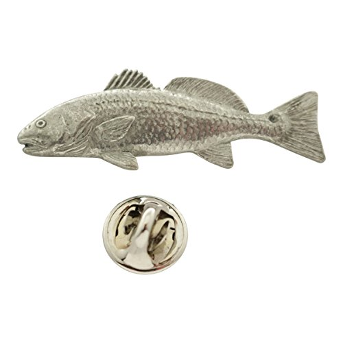 Red Fish Pin ~ Antiqued Pewter ~ Lapel Pin ~ Sarah's Treats & Treasures (Of 227 Cast)