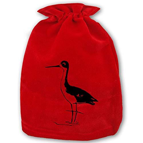 Santa Present Sack Bags Christmas Bird Stilt Wader Black-Winged Bags Red Drawstring Bag, Standard Reusable Shopping Bags