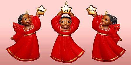 Cherub African American Christmas Ornament Set II (Red) (3 Inches) - African American Angel Ornament - Cherub Angel Christmas Ornaments