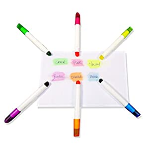 Set of 6 Wax Highlighter Pens - Waterproof Crayon Markers, Bright Neon Colors.