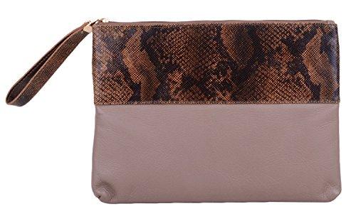 Beige Clutch Strap Wrist Bag Leather Womens Soft With Bag Taupe xnfzOwwRPt