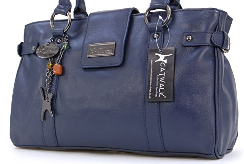 Borsa Pelle In Blu Spalla Catwalk Collection