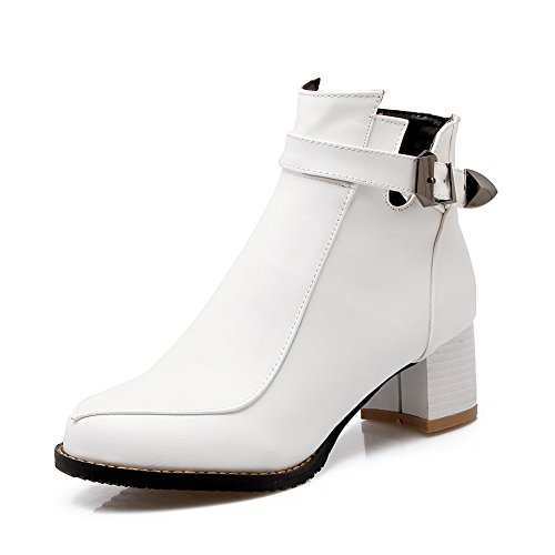 BalaMasa Womens Solid Kitten-Heels Casual Imitated Leather Boots White pMKGpeWDZC