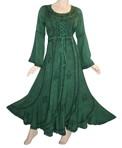 [205 DR Medieval Peasant Embroidered Vintage Dress [H Green; XL/1X]] (Green Medieval Dress)