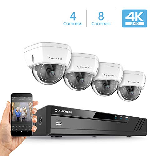 Amcrest 4K Security Camera System w/ 4K 8CH NVR, (4) x 4K (8-Megapixel) IP67 Weatherproof Metal Dome POE IP Cameras (3840x2160), 2.8mm Wide Angle Lens, Hard Drive Not Included (White)