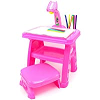 Little Treasures Projector Creativity Desk/Easel with Seat, Artist Learning Set Includes 3 Lantern Slides, 24 Patterns/12 Water Pens, Table Lamp/Painting Activities, Pink