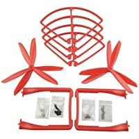 UUMART Propeller+Prop Guard+Landing Skid for Syma X8C X8W X8G X8HW RC Quadcopter Spare Parts Upgrade 3-Blade Propeller-Red