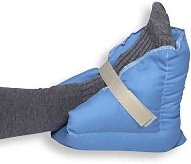 Heel Pillow - Pair - Wicking Fabric - Blue - Ulcer Prevention, Relieves Pressure on Feet/Heels -by Hermell Products