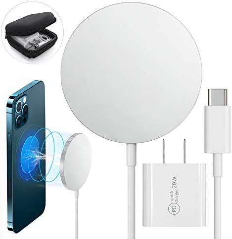 Magnetic Wireless Charger, Qi Certified Fast Charging Pad, Quick Charge, Compatible with iPhone 12, 12 Mini, 12 Pro, 12 Pro Max, AirPods 2, Pro, USB-C PD 20W Adapter Plug, Сase Included