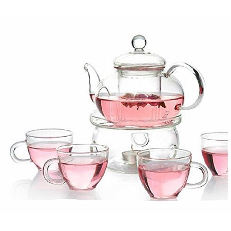 Glass Filtering Tea Maker Teapot with a Infuser, a Warmer and Tea Cups