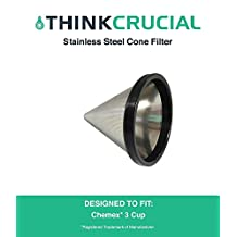 Washable & Reusable Stainless Steel Cone Coffee Filter Fits Chemex® 3-Cup Coffee Makers including Chemex CM-1C Classic and With Handle , Replaces Chemex FP-2 filters, Designed & Engineered by Crucial Coffee
