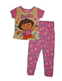 Dora the Explorer Toddler Cotton Pajama Set (12 Months, Yellow)