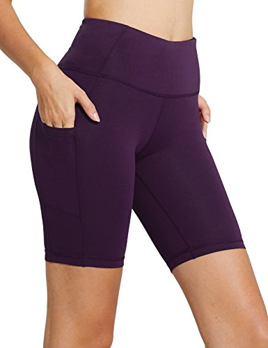 "BALEAF Women's 8"" High Waist Biker Workout Yoga Running Compression Exercise Shorts Side Pockets Purple Size L"