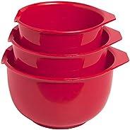 Glad Tigelas de mistura com bico de despejo, conjunto de 3 | Design de encaixe poupa espaço | Antiderrapante,