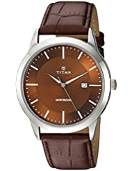 Titan Mens Neo Quartz Metal and Leather Casual Watch, Color:Brown (Model: 1584SL04)
