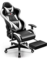 PatioMage Gaming Chair Racing Office Chair Desk Chair Headrest Lumbar Support Comfortable Computer Game Chair for Adults Men Women PU Leather Ergonomic Reclining PC Gaming Chairs with Footrest