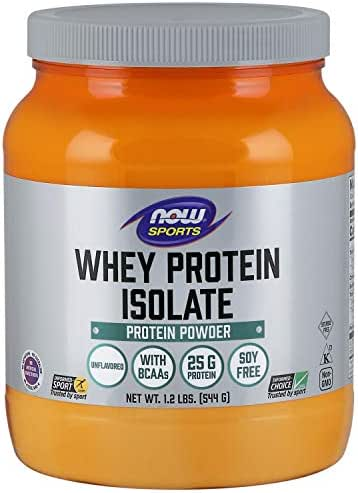 NOW Sports Nutrition, Whey Protein Isolate, 25 G With BCAAs, Unflavored Powder, 1.2-Pound