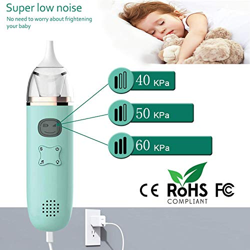 AOMEES Baby-Nasal-Aspirator, Portable&Automatic Booger Sucker,Rechargeable Electric Nose Sucker for Baby with 2 Reusable Tips&1Tweezers,Safe and Hygienic for Toddlers and Kids
