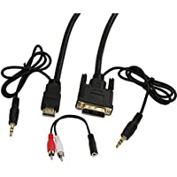 MyCableMart 25ft HDMI/DVI-D w/3.5mm AUDIO Cable High Performance 26 AWG Gold Plated