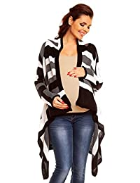 Zeta Ville Womens Maternity Waterfall Knit Coat Wrap Monochrome Cardigan - 349c (Black Colour Block, 8/12)