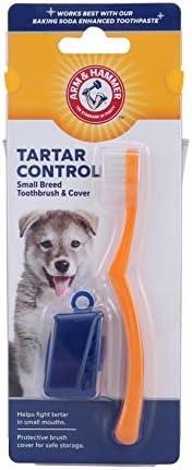 Arm & Hammer Escova de dentes e capa para cães pequenos | Melhor escova de dentes com capa para raças pequ