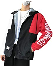 zhaoabao-AU Men's Casual Patchwork Long Sleeve Hoodies Relaxed Fit Zipper Jackets