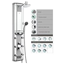 """Blue Ocean 50"""" Aluminum SPA708 Shower Panel with Rainfall Shower Head, 6 Mist Nozzles, and Spout"""