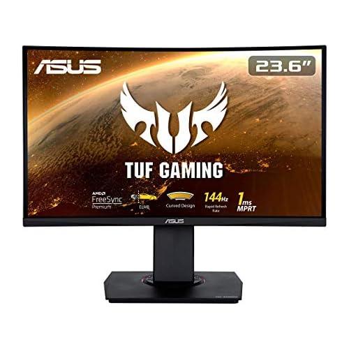 chollos oferta descuentos barato ASUS TUF Gaming VG24VQ Monitor gaming curvo de 23 6 FHD 1920x1080 144 Hz 1 ms Adaptive Sync FreeSync Extreme Low Motion Blur FreeSync 1500R Shadow Boost HDMI DisplayPort Negro