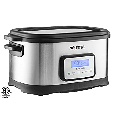 Gourmia GSV-550 9 quart Sous Vide Water Oven Cooker with Digital Timer and Temperature Controls Includes Rack, Silver