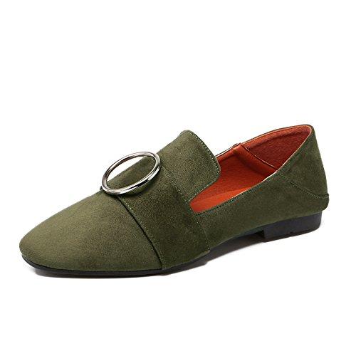 Xue Qiqi Court Schuhe Runde Flache Schuhe der flachen Veloursleder-Schuhe Veloursleder-Schuhe Veloursleder-Schuhe die Schuhe der flachen Schuhe der flachen Frauen beiläufige einfache 36 grün 50215d