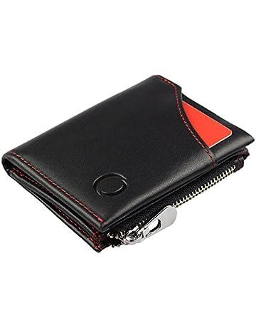 Cartera Inteligente con Monedero – Mini Billetera Hecha de Cuero Auténtico con Protección RFID, para
