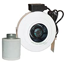 "4""x8"" Hydroponics Inline Duct Fan & Scrubber Carbon Air Filter Kit MADE BY GRO1 by DLWHOLESALE"