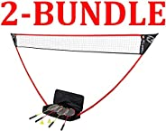 Zume Games Portable Badminton Set with Freestanding Base - Sets Up on Any Surface in Seconds - No Tools or Sta