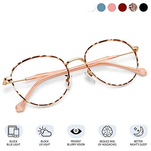 Blue Light Blocking Glasses for Women Men-FEIDU Blue Light Glasses Round Eyeglasses Frame Computer Gaming Reading Phones Glasses