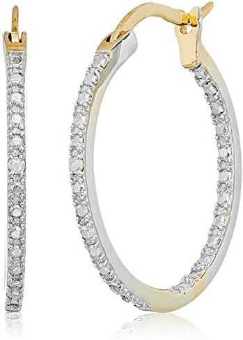 Sterling Silver Diamond Accent with Gold Overlay Hoop Earrings