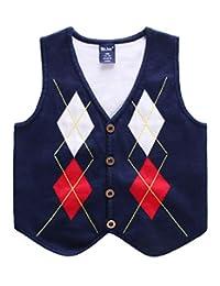 Wei juan Baby Boys Sweater Vest Button Down Argyle Winter Formal Tuxedo Vest 2-7T