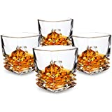 KANARS Pacific Whiskey Glasses set of 4. Premium Lead Free Crystal Rocks Tumblers for Bourbon Tasting or Scotch Drinking. Dishwasher Safe