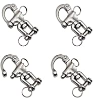 brandname BOOHAO 70mm Jaw Swivel Snap Shackle 87 mm Swivle Snap Shackle Quick Release Stainless Steel Sailboat