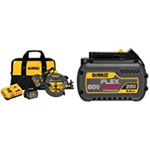 "DEWALT DCS575T2 FLEXVOLT 60V MAX Brushless Circular Saw with Brake and 2 Battery Kit, 7-1/4"" & DEWALT DCB606 20/60V MAX FLEXVOLT 6.0 Ah Battery Pack"