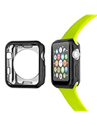 Apple Watch Case 38mm, Tomazon Flexible Slim Plated TPU Scratch-resistant Lightweight iWatch Protector Bumper Cover for Apple Watch Series 2, Series 1 - Black