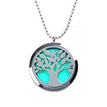 """M.JVisun Crafted Perfume Essential Oil Diffuser Peace Tree Necklace Hypo-allergenic Stainless Steel Stress Relief Fragrance Pendant Magnetic Locket + 24"""" Beaded Ball Chain + 7 pcs Washable Pads"""