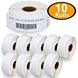 """10 Rolls DYMO 30252 Compatible 1-1/8"""" x 3-1/2""""(28mm x 89mm) Self-Adhesive Address Labels,Compatible with Dymo 450, 450 Turbo, 4XL and Many More"""