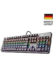 Trust GXT Mechanische Gaming Tastatur mit LED Beleuchtung (Deutsches QWERTZ Layout, Rote Schalter, Anti-Ghosting N-Key-Rollover, Metall Oberplatte) schwarz