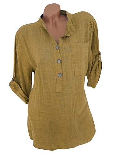 Mousseline ShallGood Chemise Button Tunique Mode lgante Jaune Casual Longue Tops Blouse Col Hauts V Affaires Classique Blouse Manches Femme ZZrfnxH