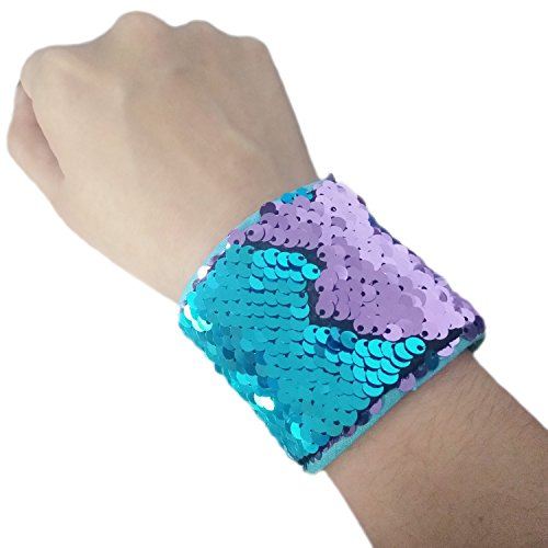 Mermaid Bracelet for Party Favors, Christmas Gifts, Two-color Reversible Charm Sequins Wristband Magic Calming Bracelets for Kids, Girls, Boys - Super-soft Velvet Lining (Blue&Purple)